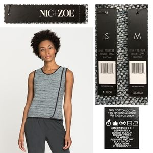 NIC+ZOE Tops - NIC + ZOE Piping Trim Speckled Knit Zip Back Tank
